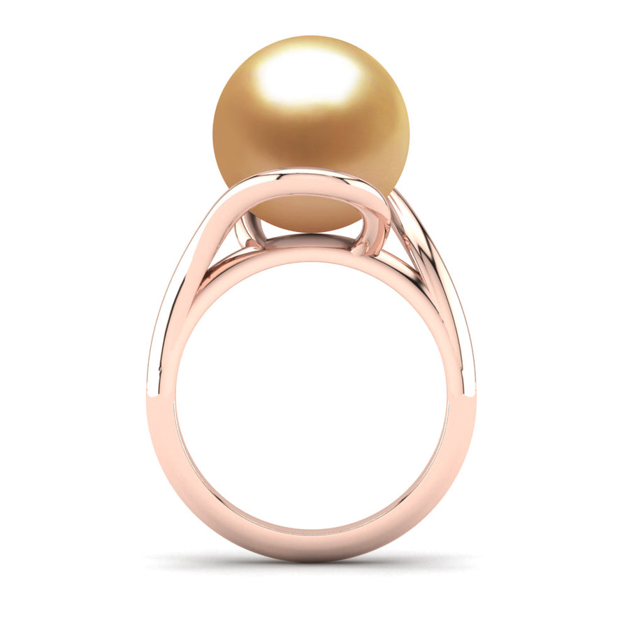 Sculptural Swirl Ring-18K Rose Gold-South Sea Golden-Deep Golden