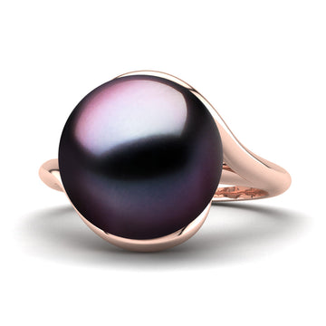 Sculptural Swirl Ring-18K Rose Gold-Tahitian-Aubergine