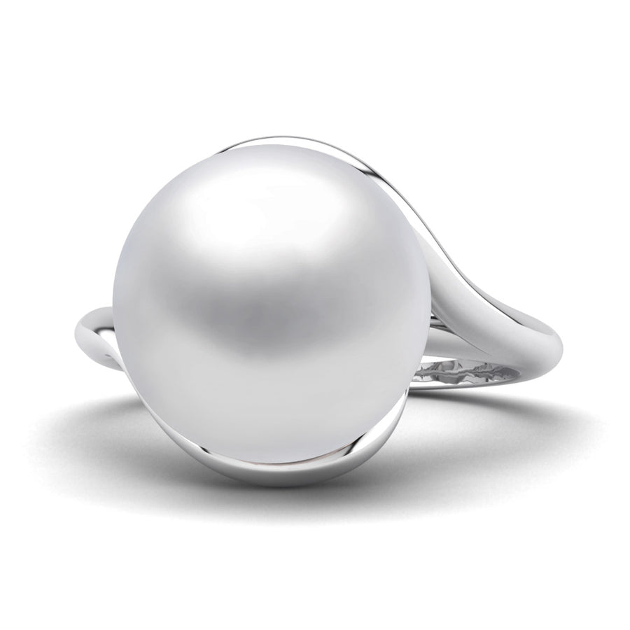 Sculptural Swirl Ring-Platinum-South Sea-South Sea White