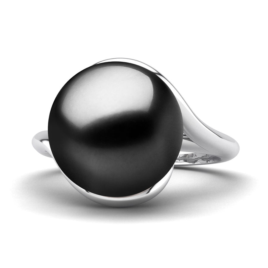 Sculptural Swirl Ring-Platinum-Tahitian-Black