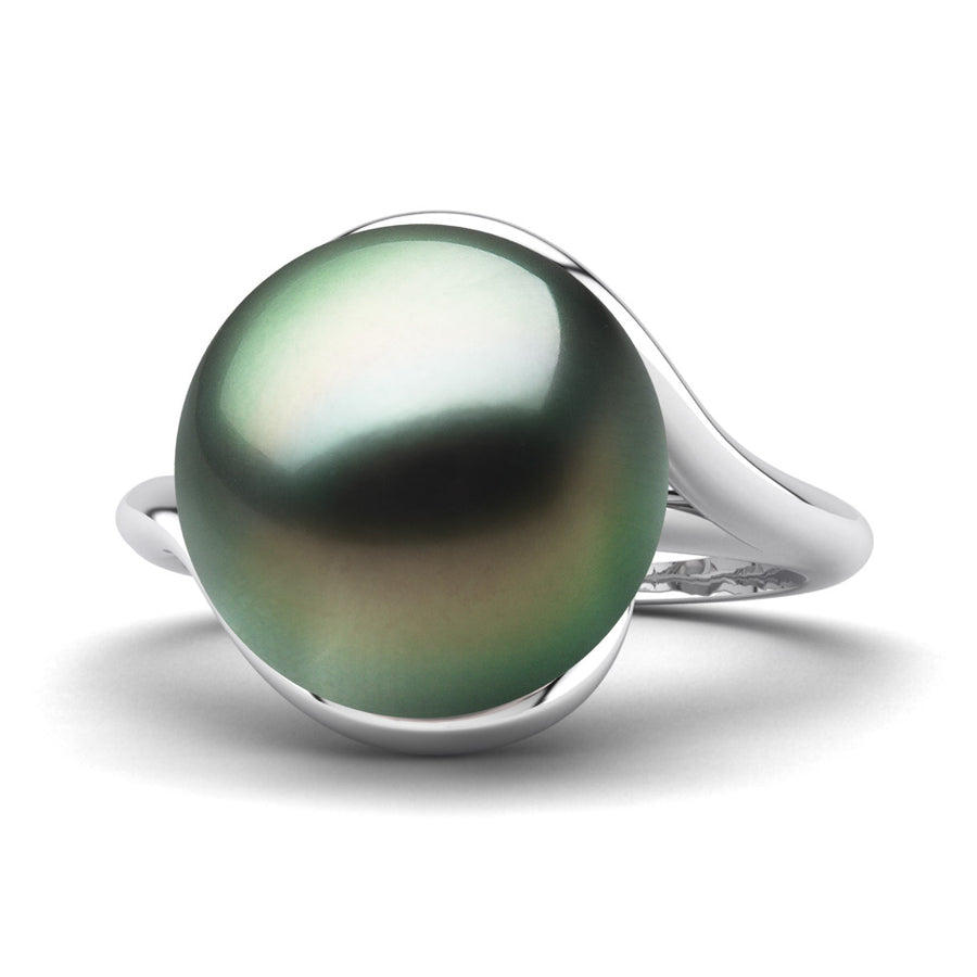 Sculptural Swirl Ring-Platinum-Tahitian-Green