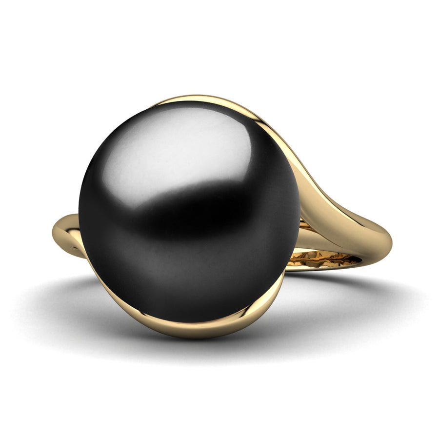 Sculptural Swirl Ring-18K Yellow Gold-Tahitian-Black