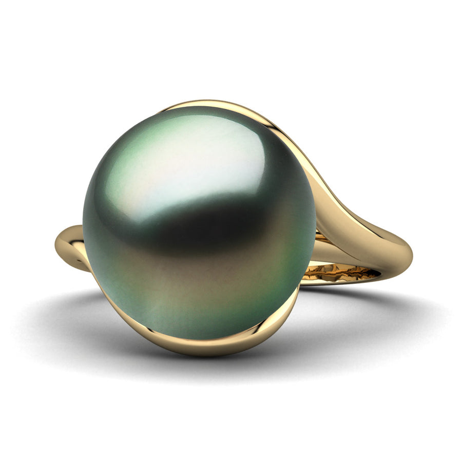 Sculptural Swirl Ring-18K Yellow Gold-Tahitian-Green