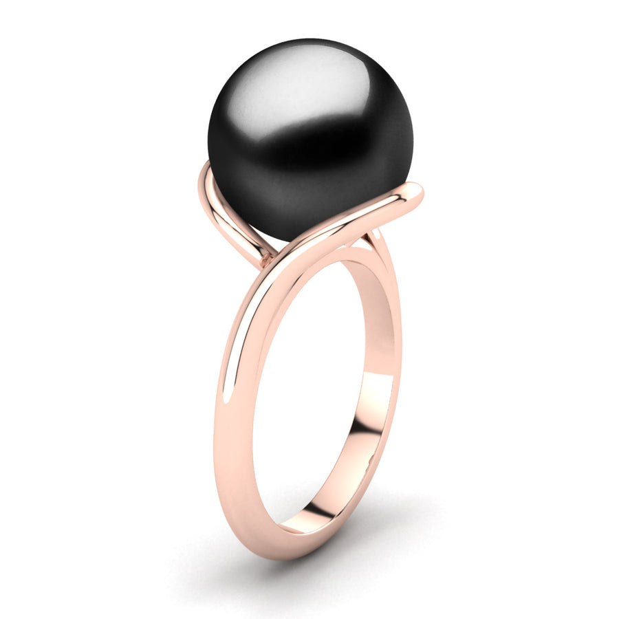 Sculptural Swirl Ring-18K Rose Gold-Tahitian-Black
