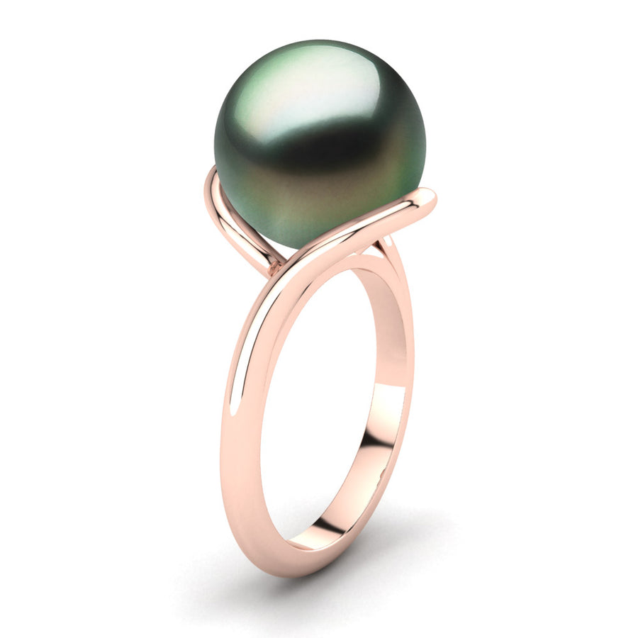 Sculptural Swirl Ring-18K Rose Gold-Tahitian-Green