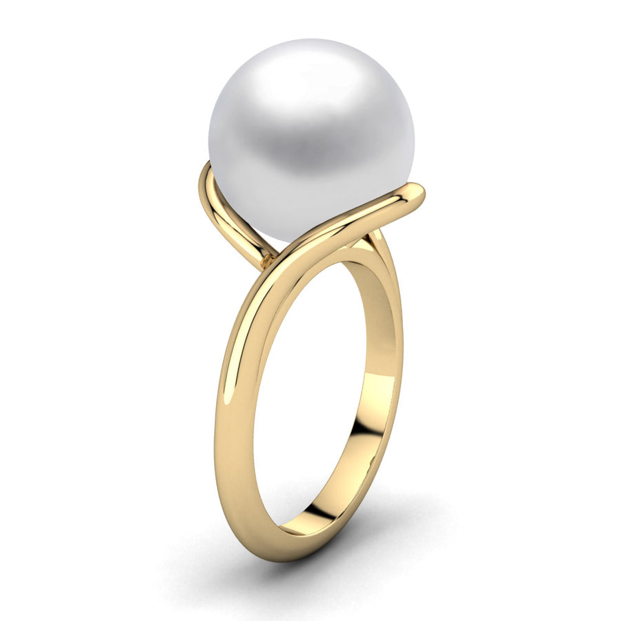 Sculptural Swirl Ring-18K Yellow Gold-South Sea-South Sea White