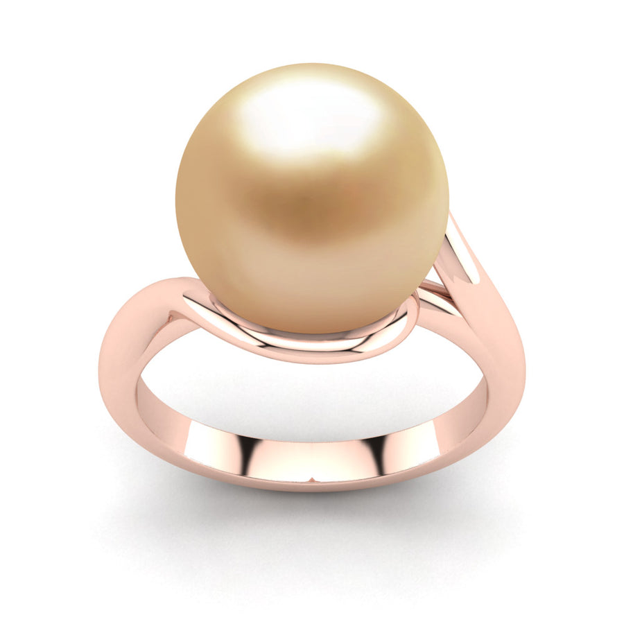 Sculptural Swirl Ring-18K Rose Gold-South Sea Golden-Golden