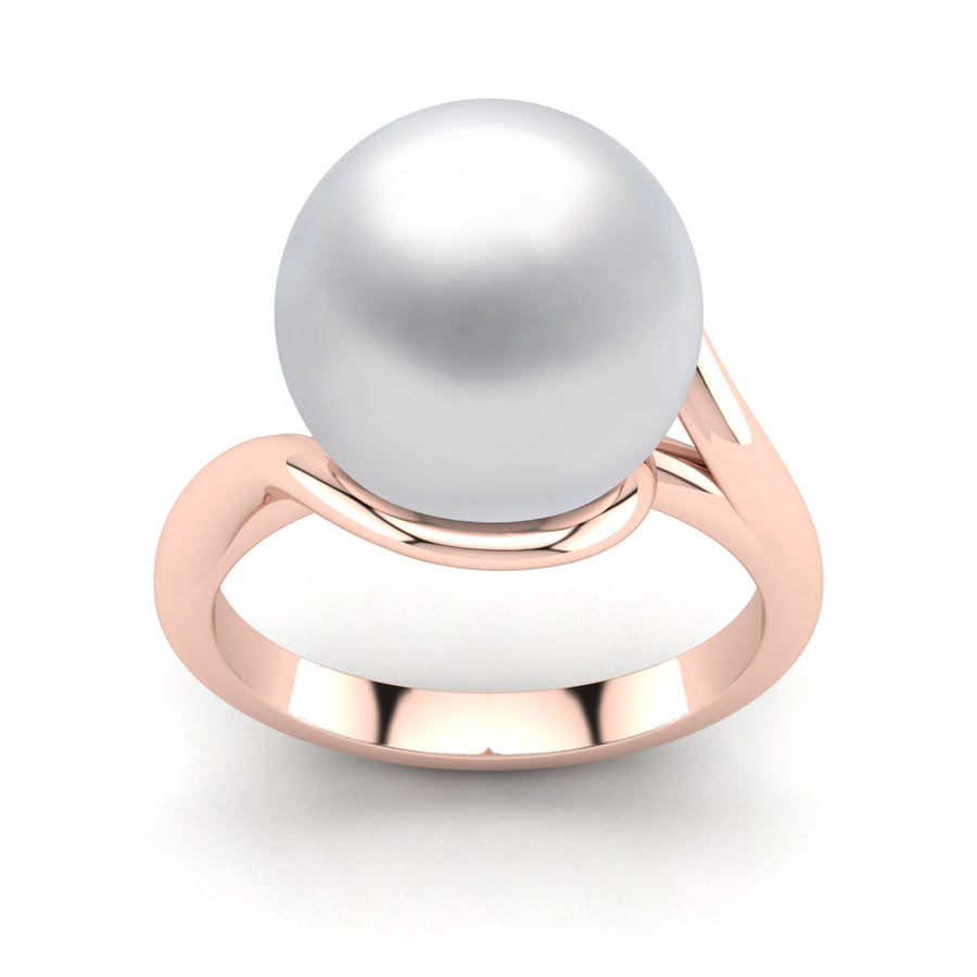 Sculptural Swirl Ring-18K Rose Gold-South Sea-South Sea White
