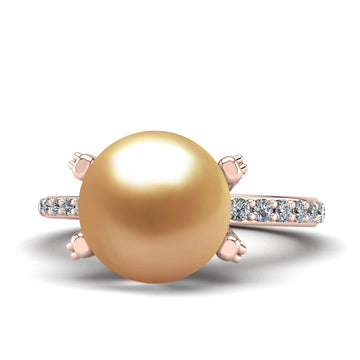 Underpass Pearl Ring-18K Rose Gold-South Sea Golden-Deep Golden