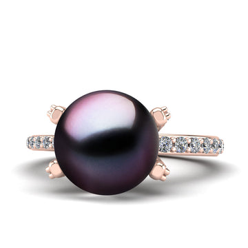 Underpass Pearl Ring-18K Rose Gold-Tahitian-Aubergine