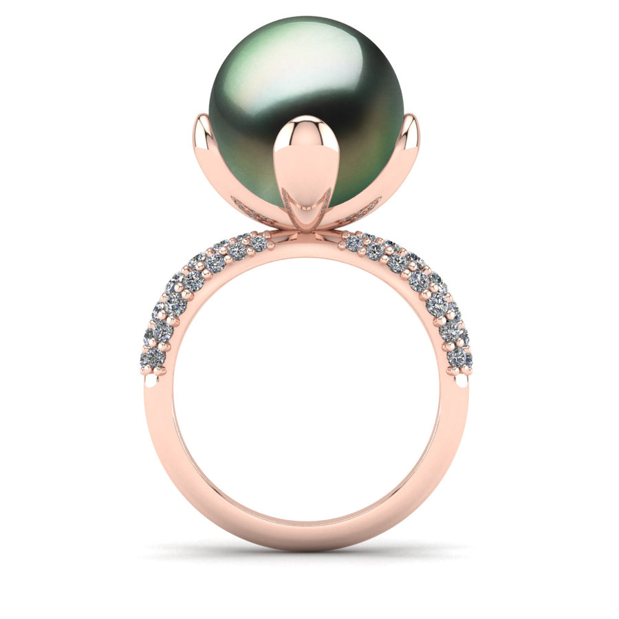 Petal Pearl Ring-18K Rose Gold-Tahitian-Green