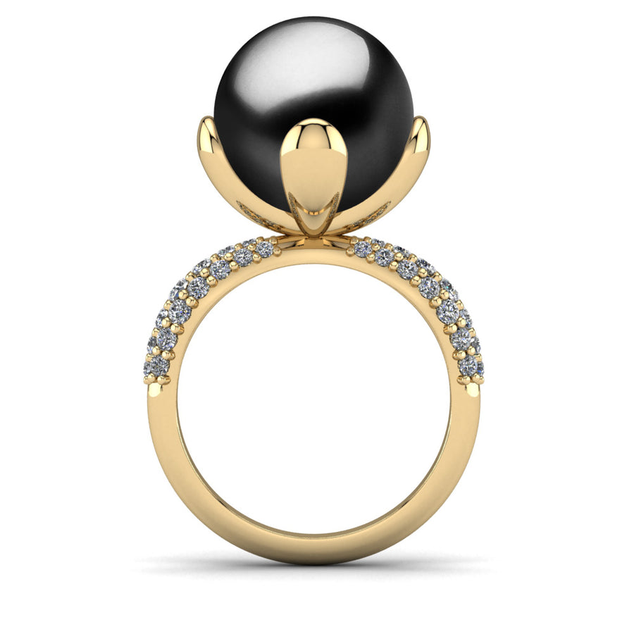 Petal Pearl Ring-18K Yellow Gold-Tahitian-Black