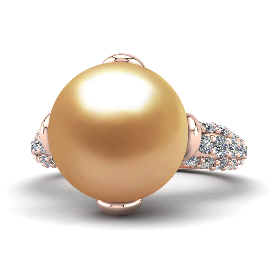 Petal Pearl Ring-18K Rose Gold-South Sea Golden-Deep Golden