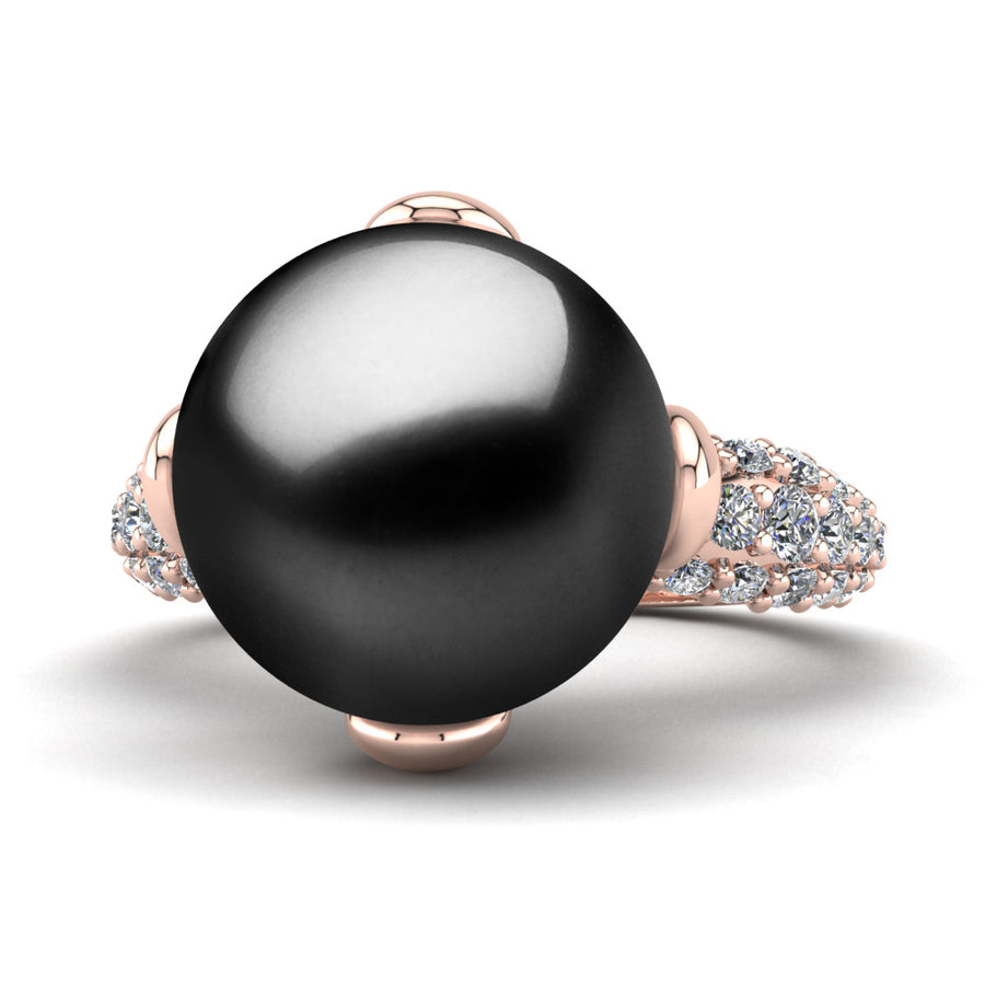 Petal Pearl Ring-18K Rose Gold-Tahitian-Black