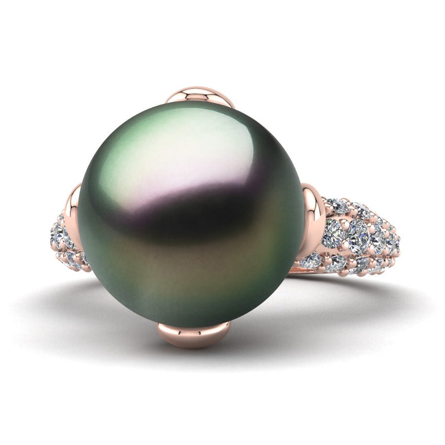 Petal Pearl Ring-18K Rose Gold-Tahitian-Peacock