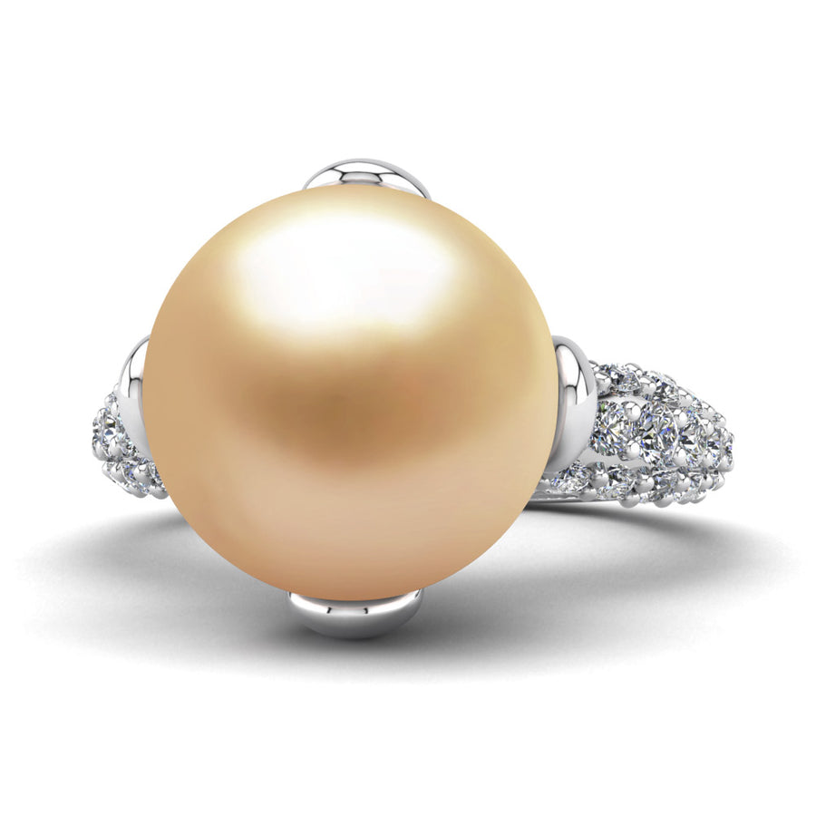 Petal Pearl Ring-Platinum-South Sea Golden-Golden