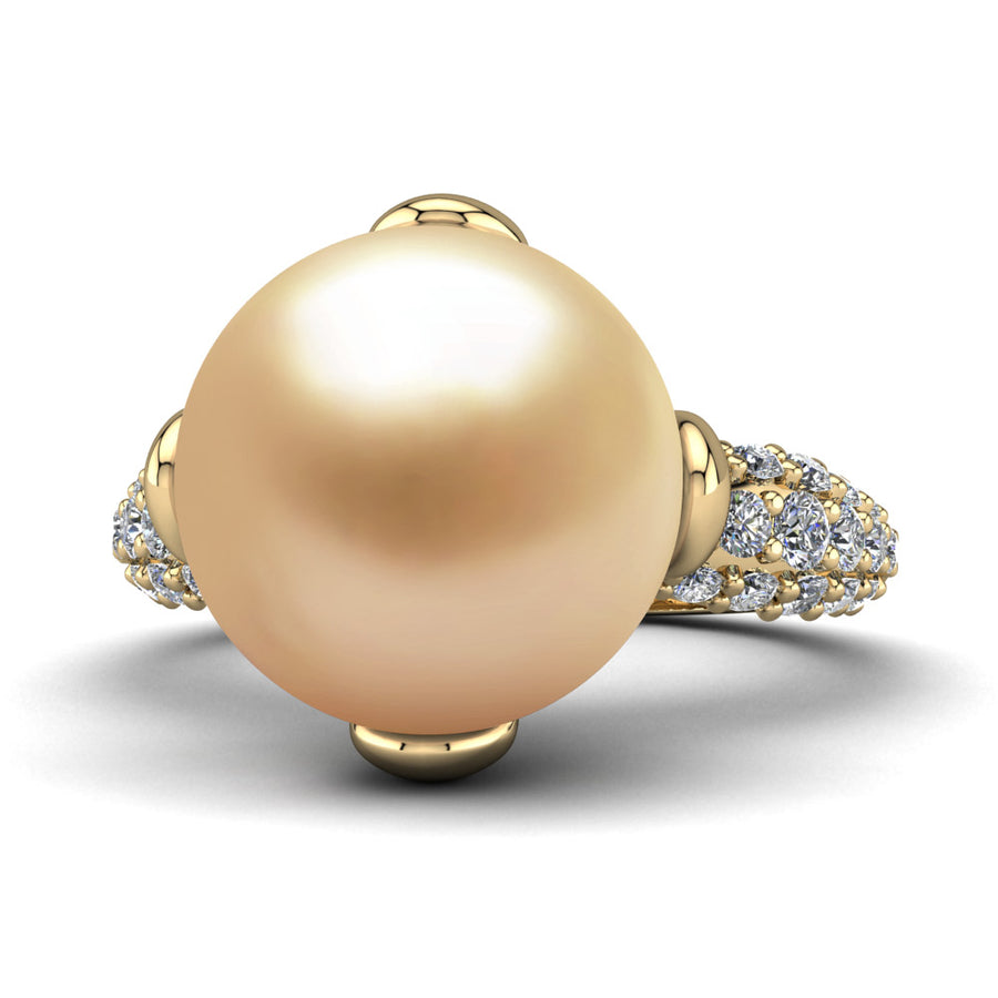 Petal Pearl Ring-18K Yellow Gold-South Sea Golden-Golden