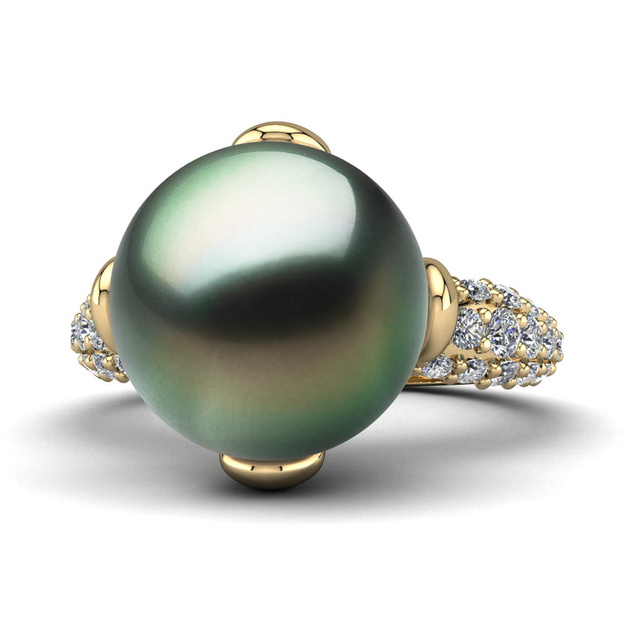 Petal Pearl Ring-18K Yellow Gold-Tahitian-Green