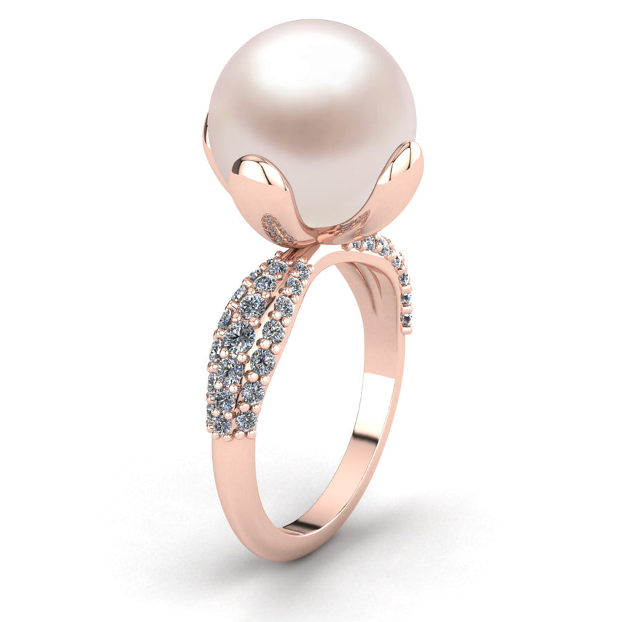 Petal Pearl Ring-18K Rose Gold-South Sea-South Sea Rose