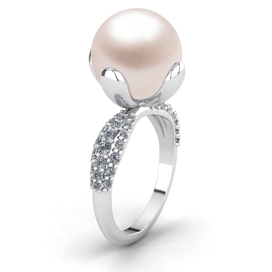 Petal Pearl Ring-Platinum-South Sea-South Sea Rose