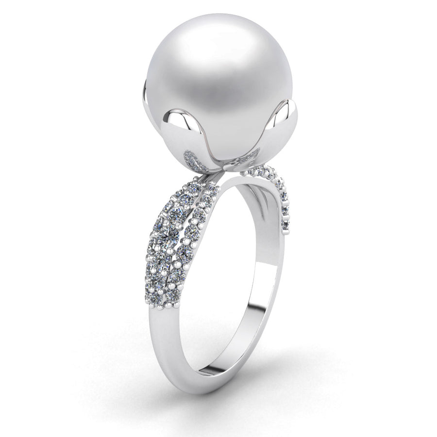 Petal Pearl Ring-Platinum-South Sea-South Sea White