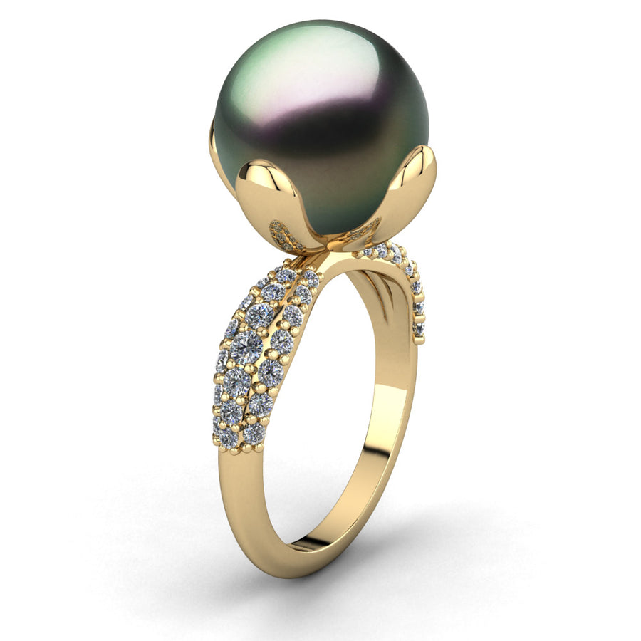 Petal Pearl Ring-18K Yellow Gold-Tahitian-Peacock
