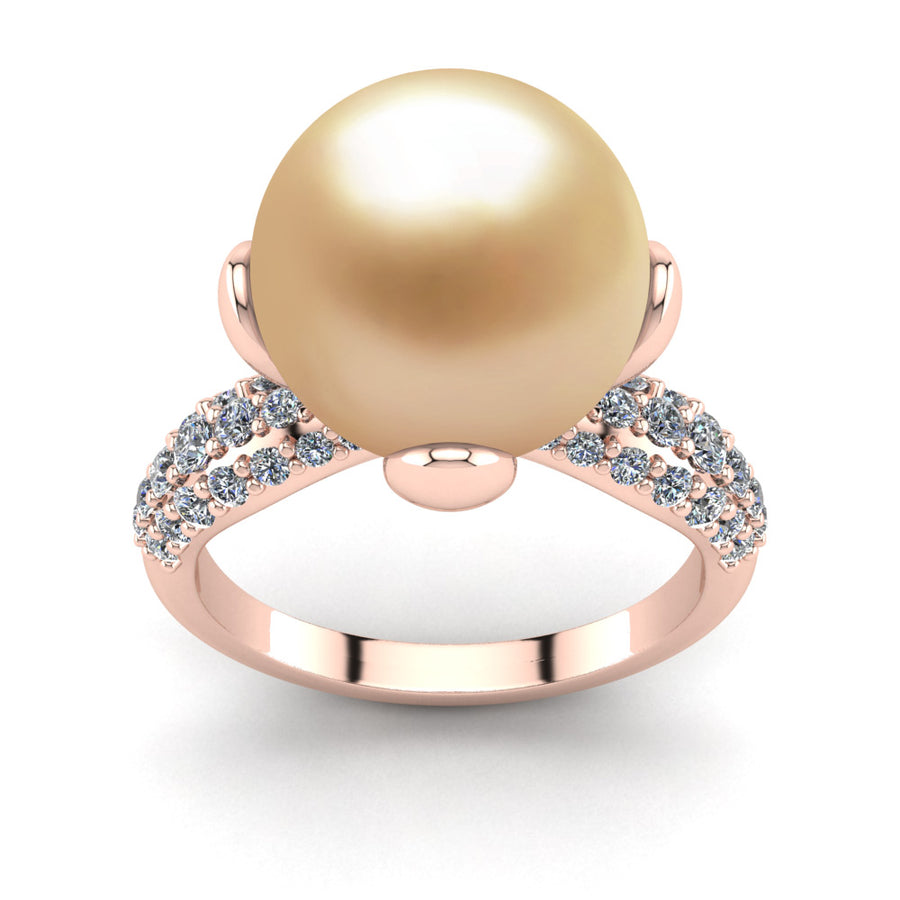 Petal Pearl Ring-18K Rose Gold-South Sea Golden-Golden
