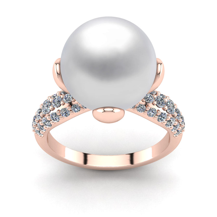 Petal Pearl Ring-18K Rose Gold-South Sea-South Sea White