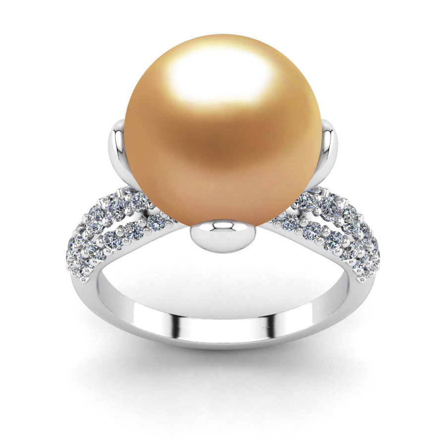 Petal Pearl Ring-Platinum-South Sea Golden-Deep Golden
