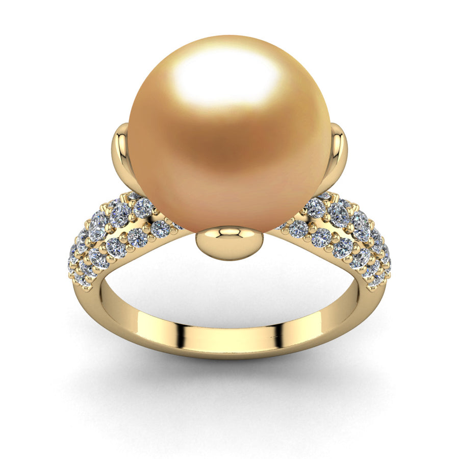 Petal Pearl Ring-18K Yellow Gold-South Sea Golden-Deep Golden