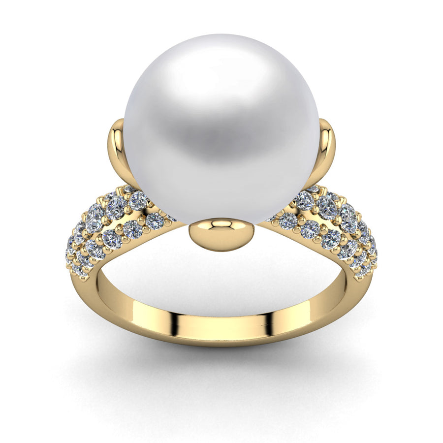 Petal Pearl Ring-18K Yellow Gold-South Sea-South Sea White
