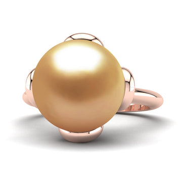 Flower Power Pearl Ring-18K Rose Gold-South Sea Golden-Deep Golden