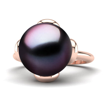 Flower Power Pearl Ring-18K Rose Gold-Tahitian-Aubergine