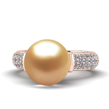 Statera Pearl Ring-18K Rose Gold-South Sea Golden-Deep Golden