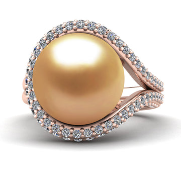 Falls Pearl Ring - Pinterest - -18K Rose Gold-South Sea Golden-Deep Golden