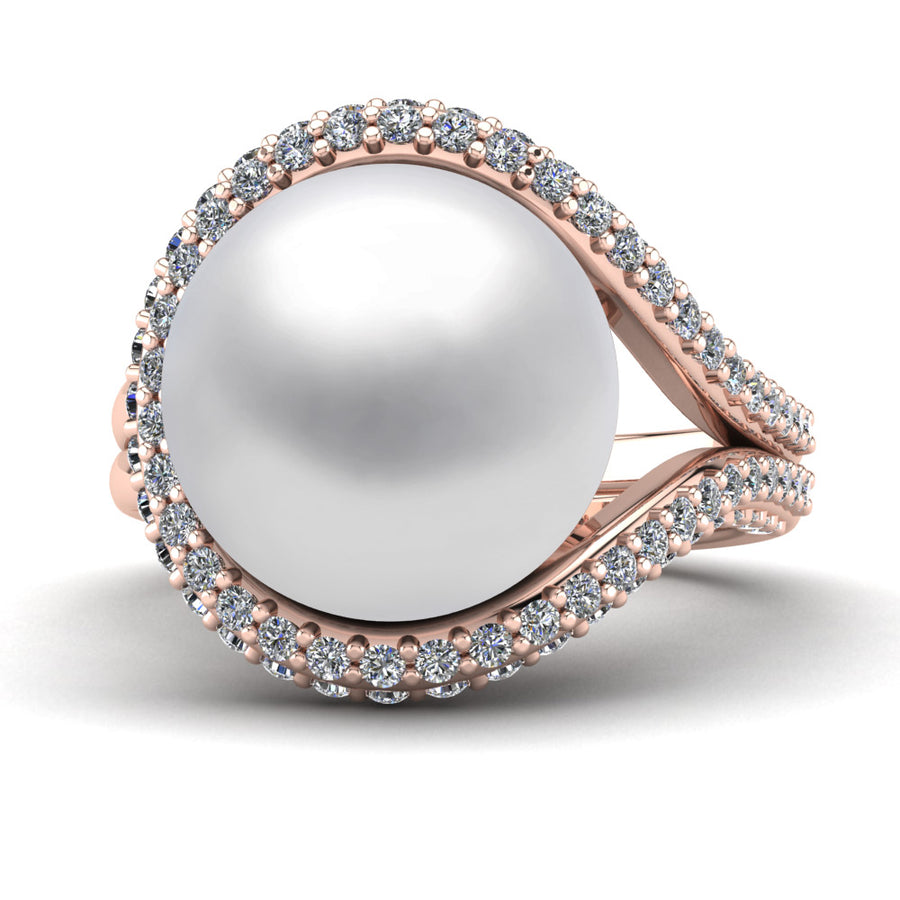 Falls Pearl Ring-18K Rose Gold-South Sea-South Sea White
