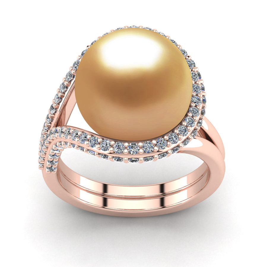 Falls Pearl Ring-18K Rose Gold-South Sea Golden-Deep Golden