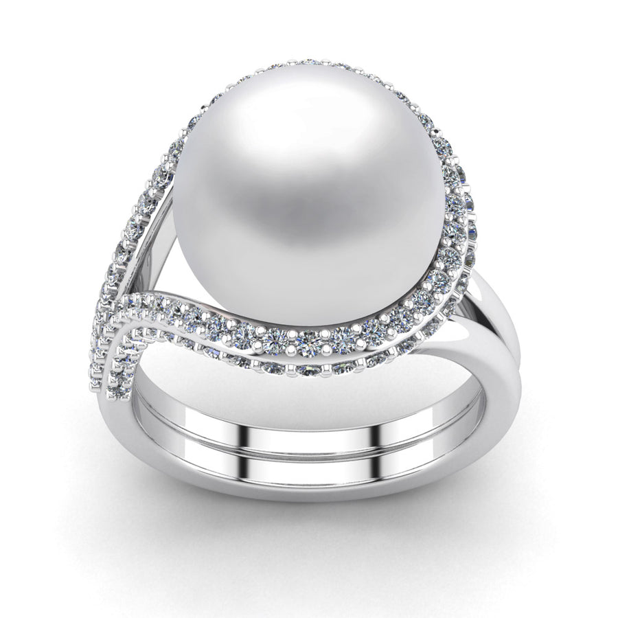 Falls Pearl Ring-Platinum-South Sea-South Sea White