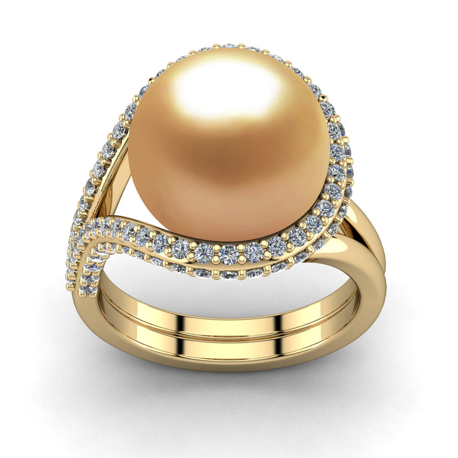 Falls Pearl Ring-18K Yellow Gold-South Sea Golden-Deep Golden