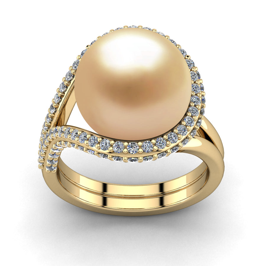 Falls Pearl Ring-18K Yellow Gold-South Sea Golden-Golden