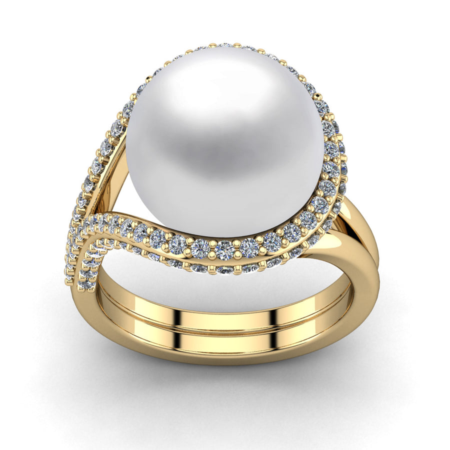 Falls Pearl Ring-18K Yellow Gold-South Sea-South Sea White