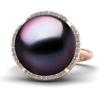 Arches Pearl Ring-18K Rose Gold-Tahitian-Aubergine