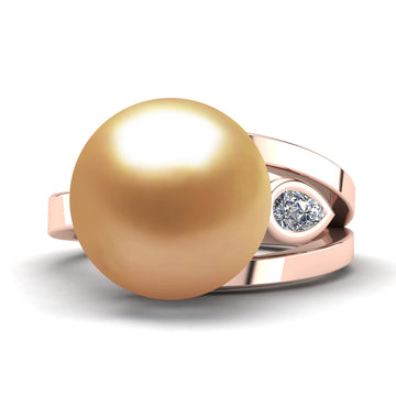 Easygoing Pearl Ring-18K Rose Gold-South Sea Golden-Deep Golden