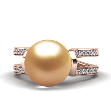 Excelsior Pearl Ring-18K Rose Gold-South Sea Golden-Deep Golden