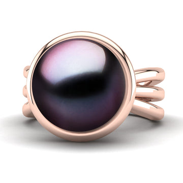 Go for the Gold Pearl Ring-18K Rose Gold-Tahitian-Aubergine