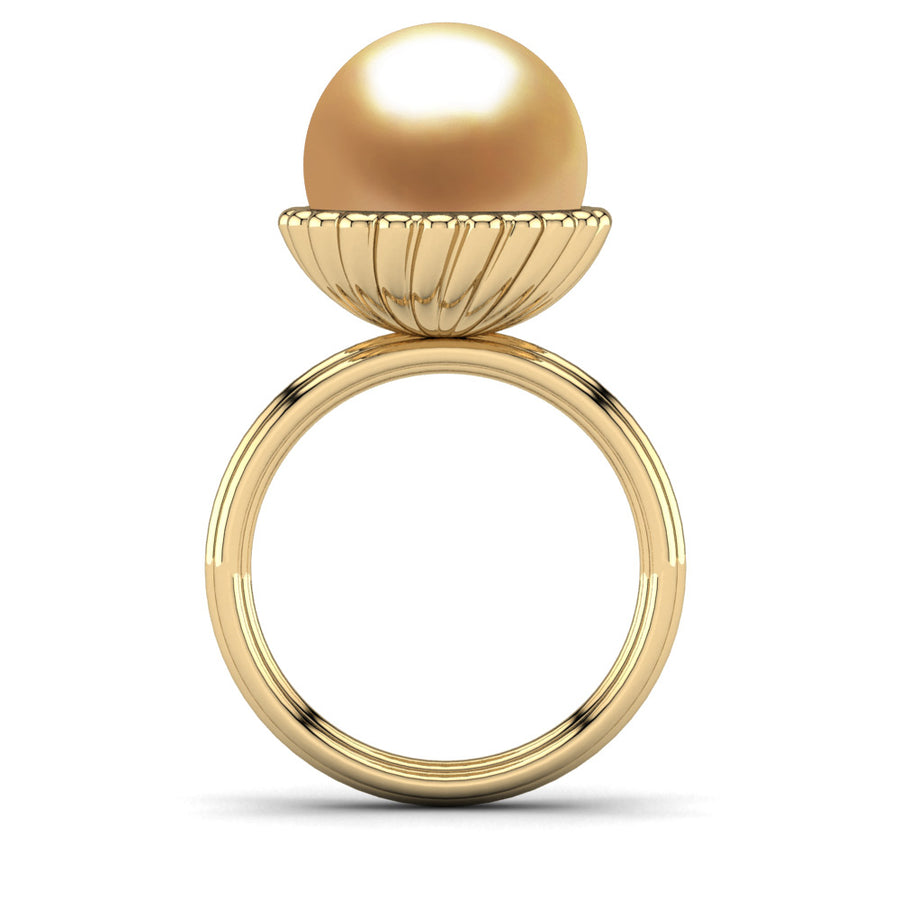Swirl Pearl Ring-18K Yellow Gold-South Sea Golden-Deep Golden