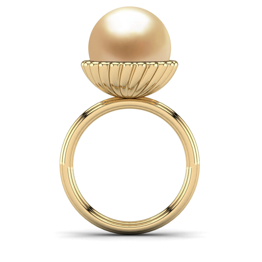 Swirl Pearl Ring-18K Yellow Gold-South Sea Golden-Golden