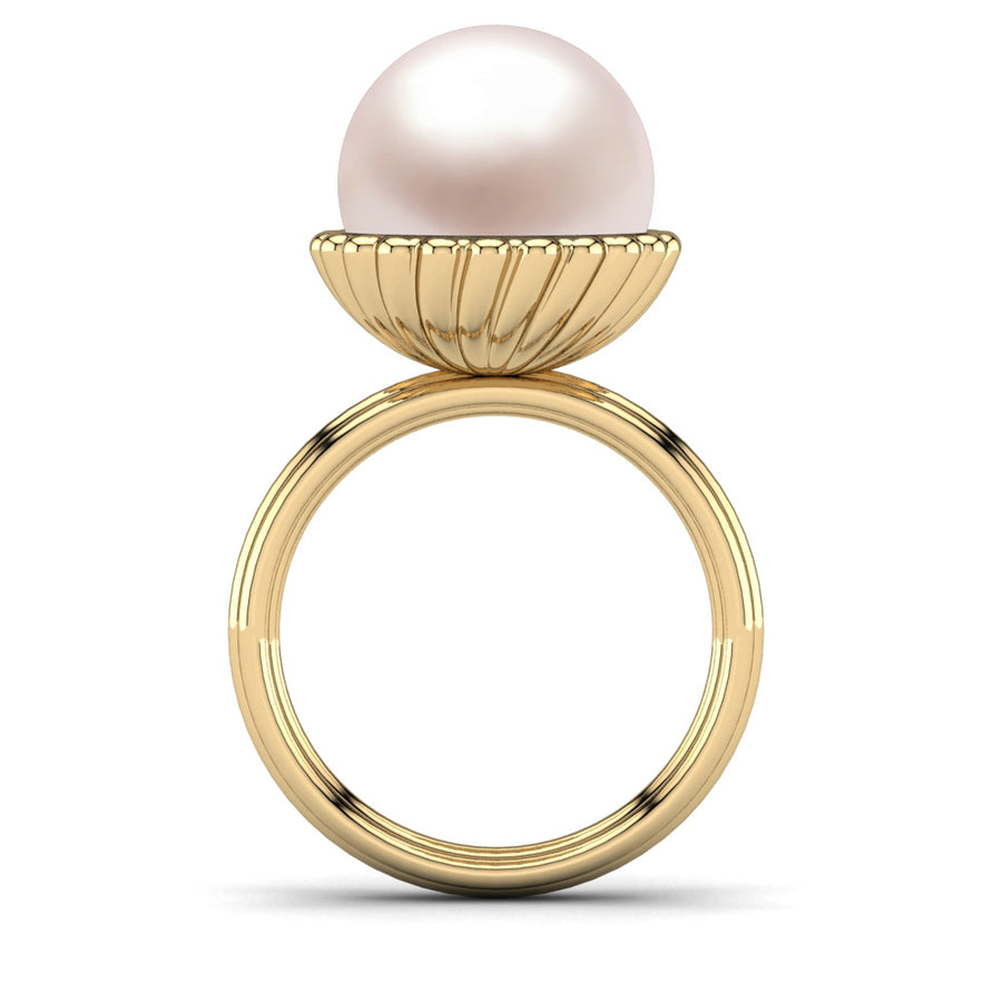 Swirl Pearl Ring-18K Yellow Gold-South Sea-South Sea Rose