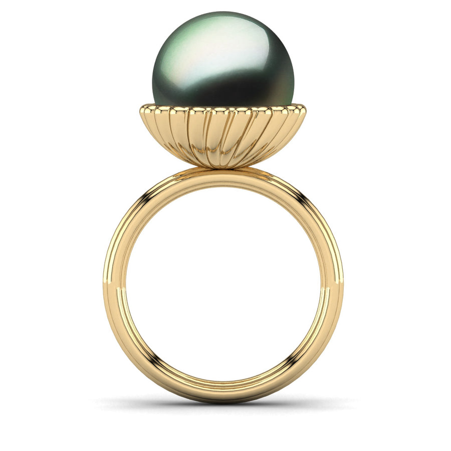 Swirl Pearl Ring-18K Yellow Gold-Tahitian-Green