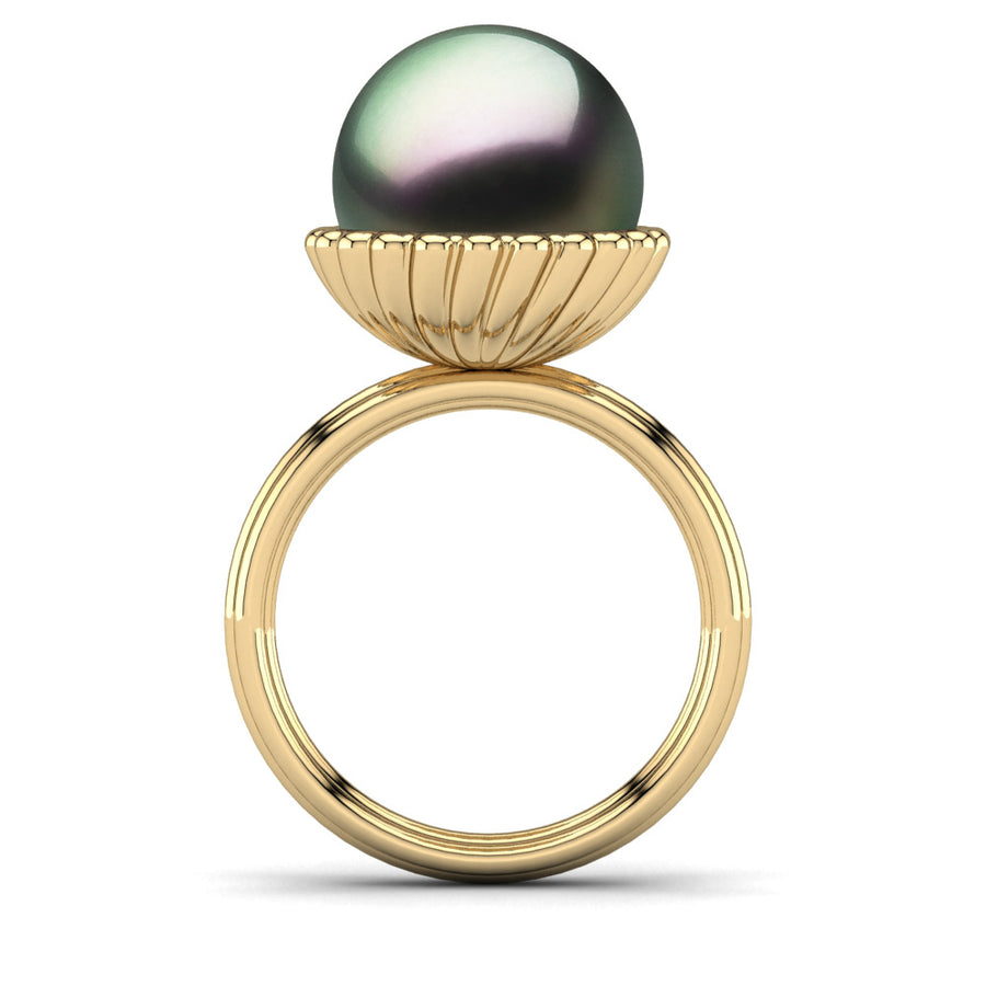 Swirl Pearl Ring-18K Yellow Gold-Tahitian-Peacock